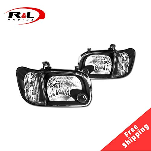R&L Racing Black Housing Headlights Corner Signal Lamps 05-07 For Toyota Tundra Double Cab/Sequoia
