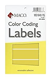 MACO Neon Yellow Rectangle Color Coding Labels, 1 x 3 Inches, 200 Per Box (MS1648-YG)