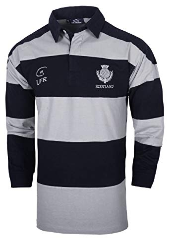 (Scotland Longsleeve Striped Rugby Jersey (L))