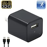 Hidden Camera,ABCC 32GB1080P NEW AC Adapter Wall Charger Spy Cam Motion Detection Loop Recording Home Surveillance