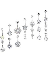 10 Pcs 14G Stainless Steel Dangle Belly Button Rings for Women Girls Navel Rings CZ Body Piercing