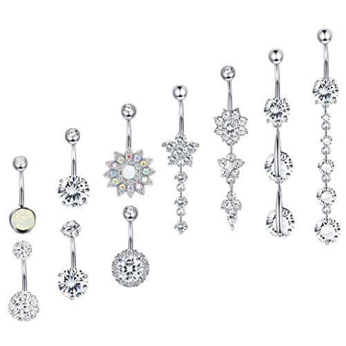 Besteel 10 Pcs 14G Stainless Steel Dangle Belly Button Rings for Women Girls Navel Rings CZ Body Piercing Sliver-Tone Chandelier Dangling Belly Ring