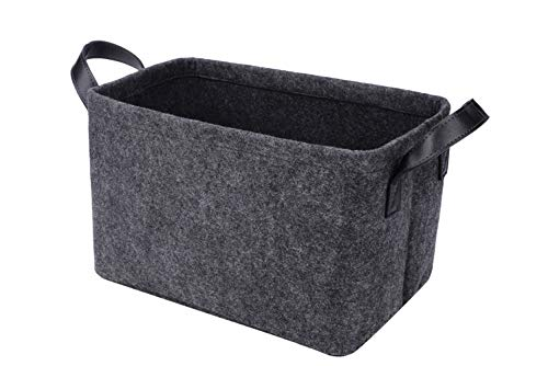 Rhyan Felt Storage Basket/Bin with PU Handles, Collapsible & Convenient Storage Solution for Office, Bedroom, Closet, Toys, Laundry(Dark Grey)