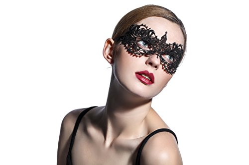 [Exquisite High-end Lace Masquerade Mask (Black/Venetian)] (Black Lace Masquerade Masks)
