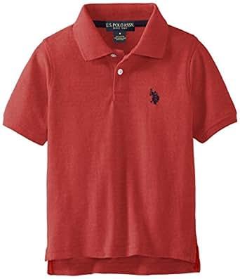 U.S. Polo Assn. Little Boys' Classic Short Sleeve Solid Pique Polo Shirt, Nantucket Red Heather, 2T