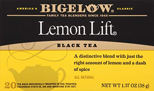 Bigelow Lemon Lift Black Tea Bags 20-Count Boxes (Pack of 6) Caffeinated Individual Black Tea Bags, for Hot Tea or Iced Tea, Drink Plain or Sweetened with Honey or Sugar ()