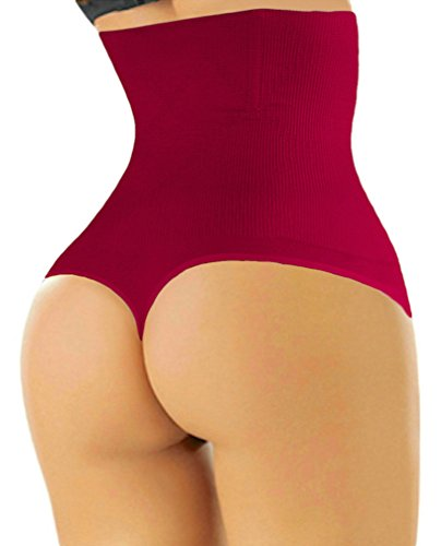ShaperQueen 102 Best Womens Waist Cincher Body Shaper Trimmer Trainer Slimmer Girdle Faja Bodysuit Short Tummy Belly Weighloss Control Brief Corset Plus Size Underwear Shapewear Thong (XXL, Wine Red) (Best Tummy Control Shapewear Reviews)