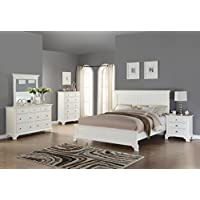 Roundhill Furniture White Wood Bedroom Furniture Set Includes Bed Dresser Mirror Night Stand and Chest, Queen