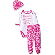 Gerber Childrenswear  Favorite Team  Bodysuit, Pant & Cap Set, 0-3 Months, Pink