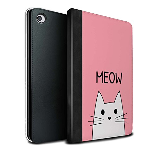 Tablet Case for Apple iPad Mini 4 Cute Cartoon Cat Meow/Pink Design Flip Faux Book PU Leather Cover