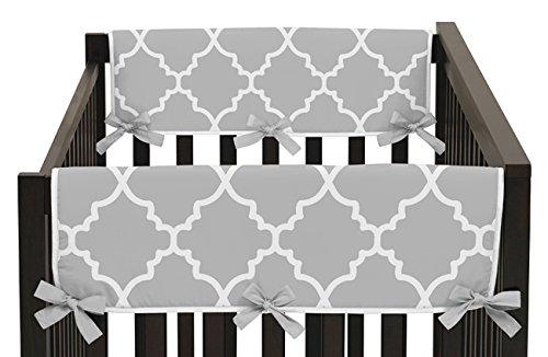 Sweet Jojo Designs 2-Piece Gray and White Trellis Lattice Teething Protector Cover Wrap Baby Crib Side Rail (Lattice Rail)