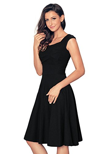 Newbely Women's 1950s Retro Vintage Cap Sleeve Party Swing Dress