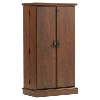 2 Door Traditional Cherry Storage Cabinet Two Adjustable Shelves Key Lock Manufactured Wood Material Office Furniture