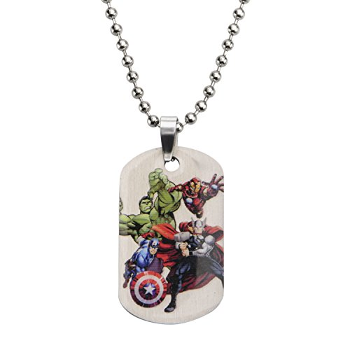 Marvel Comics Boys' Stainless Steel Avenger Characters Dog Tag Chain Pendant Necklace, 16