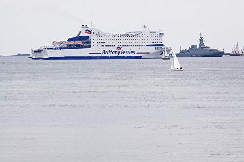 Home Comforts Peel-n-Stick Poster of Water Continental Ferry Ship Sea Ferry Plymouth Vivid Imagery Poster 24 x 16 Adhesive Sticker Poster - Water Plymouth