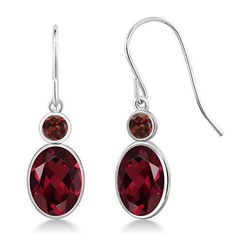 Gem Stone King 3.04 Ct Oval Red Rhodolite Garnet Red Garnet 14K White Gold Earrings