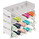 mDesign Plastic Free-Standing Water Bottle and Wine Rack Storage Organizer for Kitchen Countertops, Table Top, Pantry, Fridge - Stackable - Holds 20 Bottles, 4 Pack - Light Gray