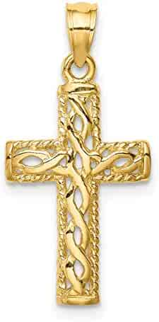 Lex /& Lu 14k Yellow Gold Polished Rounded Cross Pendant LAL120183