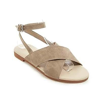 BalaMasa Womens ASL06778 Low-Top Dance-Ballroom Huarache Beige Pu Fashion Sandals - 2.5 UK (Lable:34)