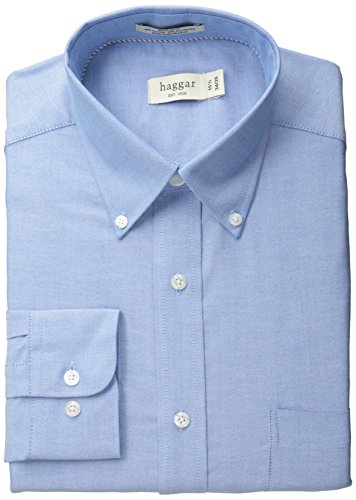 Haggar Men's Pinpoint Oxford Solid Long Sleeve Regular Fit Buttondown Collar Dress Shirt, Bright Blue, 16x32/33 -