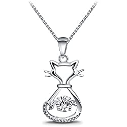 "T400 Jewelers Mother's Day Gifts ""Lovely Cat"" 925 Sterling Silver Dancing Stone with Swarovski Zirconia Cat Pendant Necklace, 18"""