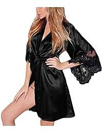 PJ Women s Sexy Silk Kimono Dressing Babydoll Lace Lingerie Belt Bath Robe  Nightwear 4ebdf6b48