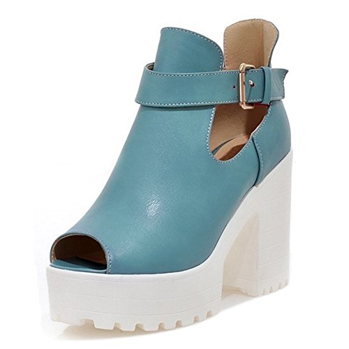 COOLCEPT Damen Mode Ankle Wrap Sommer Pumps Peep Toe Blockabsatz Schuhe Blau