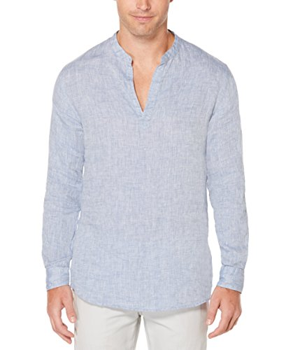 Perry Ellis - Camisa de Manga Larga para Hombre, de Lino y algodón, Azul (Colony Blue), Medium