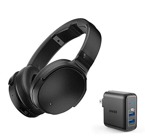 Skullcandy Venue Active Noise Canceling Wireless Bluetooth Headphone Bundle with Anker 2 Ports USB Wall Charger - Black