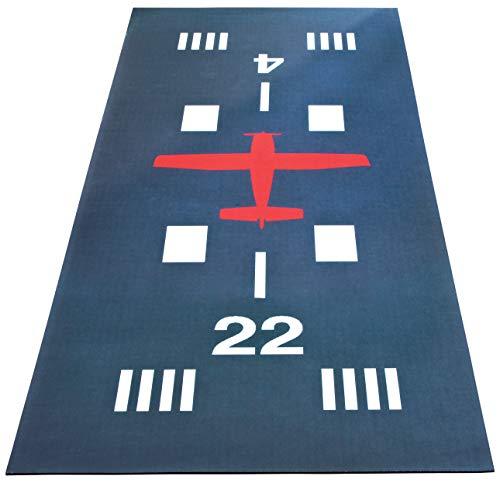 Airport Runway Hallway Runner Mat 60 Inches Long Machine Washable Airplane Decor ()