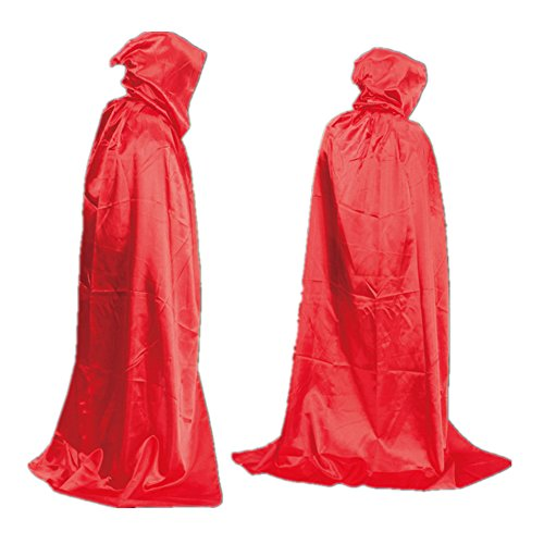 Devil Red Dress Costume (starkma Unisex Full Length Hooded Cape Costume Cloak Devil Witch Wizard magician Cosplay Cape (170cm (Suitable height 190cm), Red))