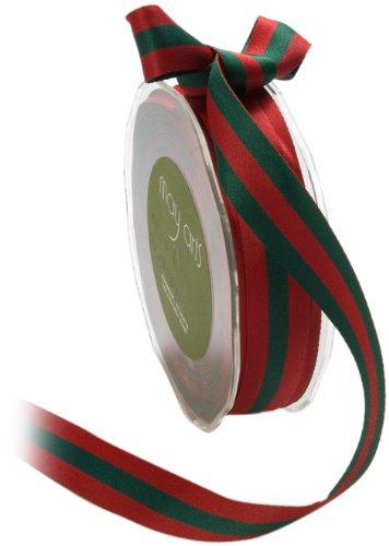 Ribbon May Arts (May Arts 3/4-Inch Wide Ribbon, Red and Green Reversible Stripes)