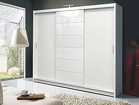 Armadio Ante Scorrevoli 250 Cm.Dako Furniture Guardaroba Malibu Bianco Con Ante Scorrevoli 250