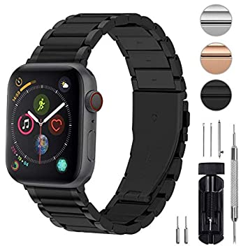 Fullmosa 3 Colores Correa de Acero Inoxidable Compatible con Apple Watch Series 5/4/3/2/1, LUS Series Pulsera Metálica para iWatch 38mm 42mm 40mm ...