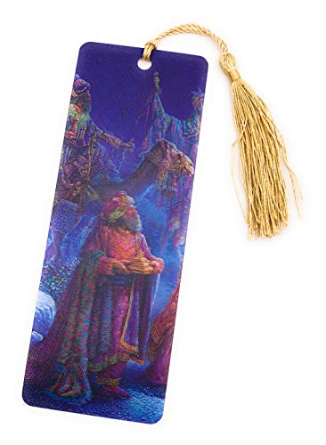 Magi Three Wise Men Presenting Their Gifts - 3D Lenticular Bookmark with a Golden Tassel - Artwork by Tom Dubois ()