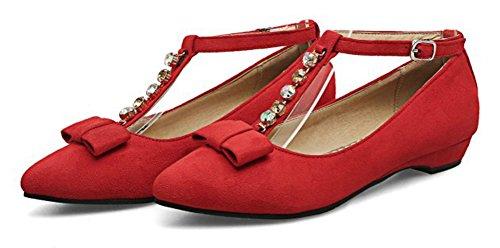 Aisun Donna Strass Low Cut Punta A Punta Fibbia Dressy Tacco Grosso Cinturino Alla Caviglia Tacco Pompe Scarpe Con Fiocco Rosso