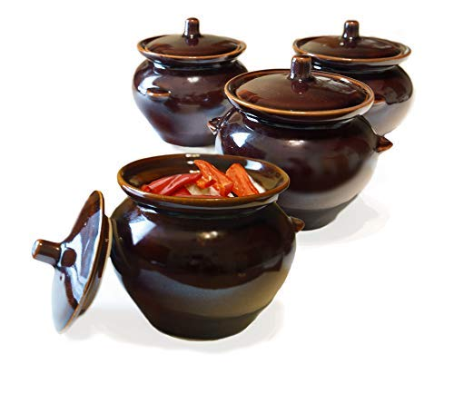 Bake & Serve 15 oz Ceramic Ramekin Bowl with Lid - set оf 4 - Country Kitchen Style Soup Stew Glazed Clay Pot Crocks - Oven-, Microwave- and Dishwasher- ()