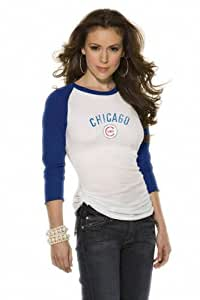 Chicago Cubs Women's 3/4 Sleeve Raglan Top - by Alyssa Milano