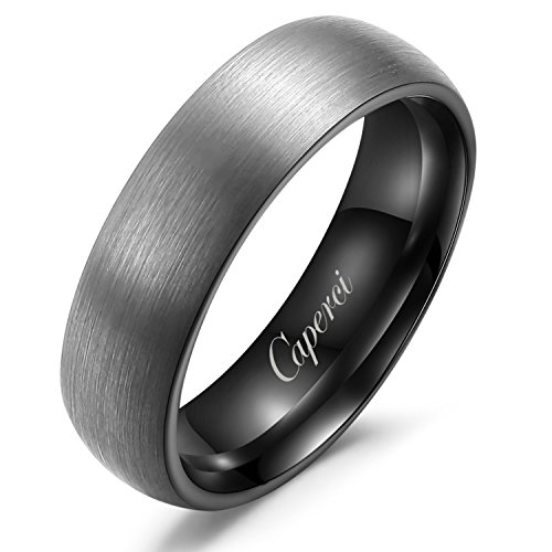 Caperci 7MM Brushed Tungsten Wedding Band Rings for Men Size 15, Black Inner Face and Comfort Fit