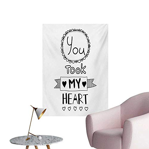 Anzhutwelve Quote Art Decor Decals Stickers Typographic Style Lettering You Took My Heart with Hand Drawn Ornamental FiguresBlack and White W24 xL32 Space -