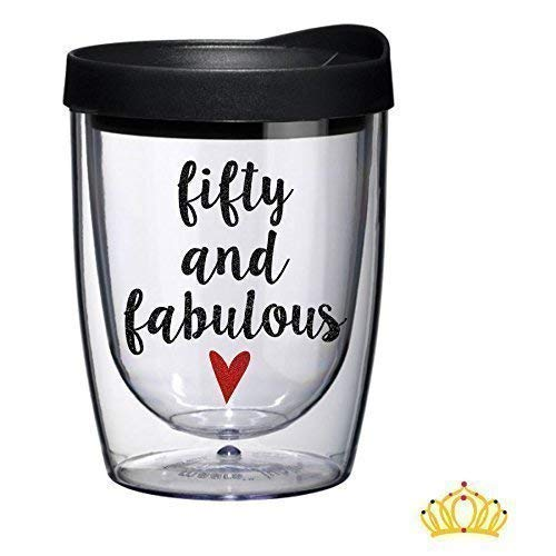 Fifty and Fabulous Acrylic Wine Tumbler, 50th Birthday Gift for Her - Black and Red Glitter