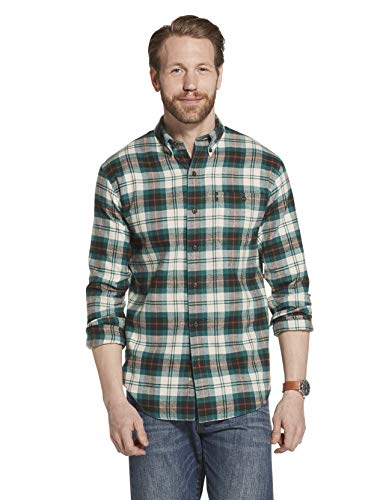 G.H. Bass & Co. Men's Fireside Flannels Long Sleeve Button Down Shirt, Scarab, X-Large