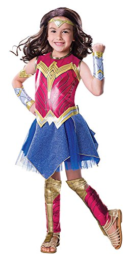 Deluxe Woman Wonder Costume Kids Halloween (Rubie's Costume Girls Justice League Deluxe Wonder Costume, Medium,)