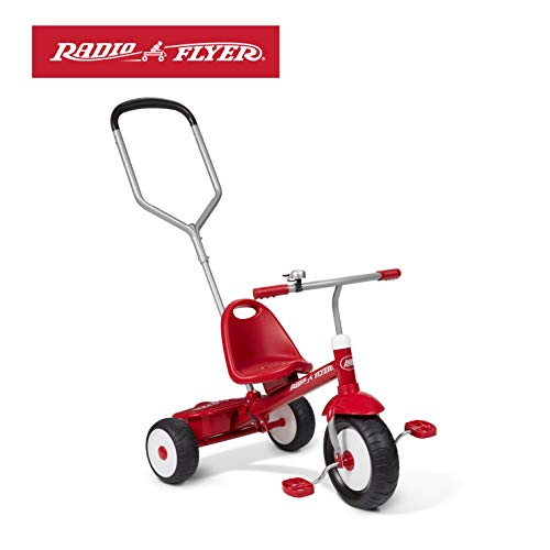 Radio Flyer Deluxe Steer & Stroll Trike, Red (Best Toddler Tricycle 2 Year Old)