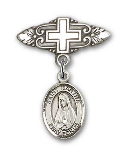 Icecarats Créatrice De Bijoux En Argent Sterling St. Martha Broche De Badge Charme Avec Une Croix X 3/4