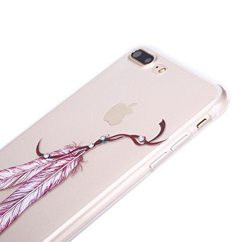 iPhone 7 Plus 2016 Hülle,iPhone 7 Plus Hülle,JAWSEU Diamont Bunt Feder Muster TPU Case Hülle Ultradünne Silikon Gel Schutzhülle Durchsichtig Bling Glänzend Glitzer Kristall Transparent TPU Silikon Sch