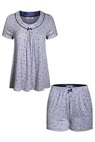 SofiePJ Women's Rayon Spandex Printed Scoop Neck Short Sleepwear Pajama Set with Short Sleeve Short Pants and Satin Trim Grey L