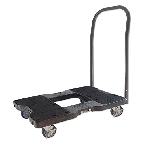 SNAP-LOC Push CART Dolly Black with 1500 lb Capacity, Steel Frame, 4 inch Casters, Push Bar and Optional E-Strap Attachment