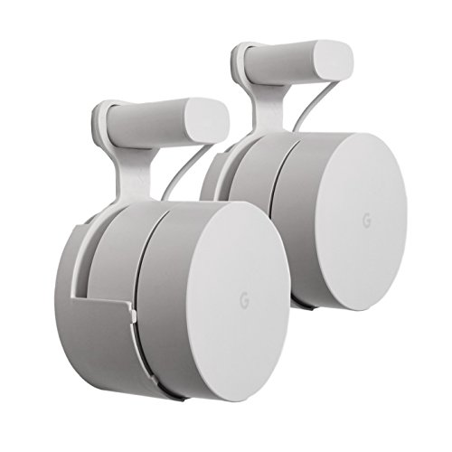 : Dot Genie Google WiFi Outlet Holder Mount: [Original and Best] USA Made - The Simplest Wall Mount Holder Stand Bracket for Google WiFi Routers and Beacons - No Messy Screws! (2-Pack)