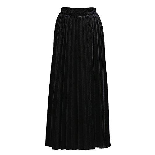 Bozevon Brillante Mujeres Cintura Negro Plisadas Las De Faldas Color Largas Alta arqBa